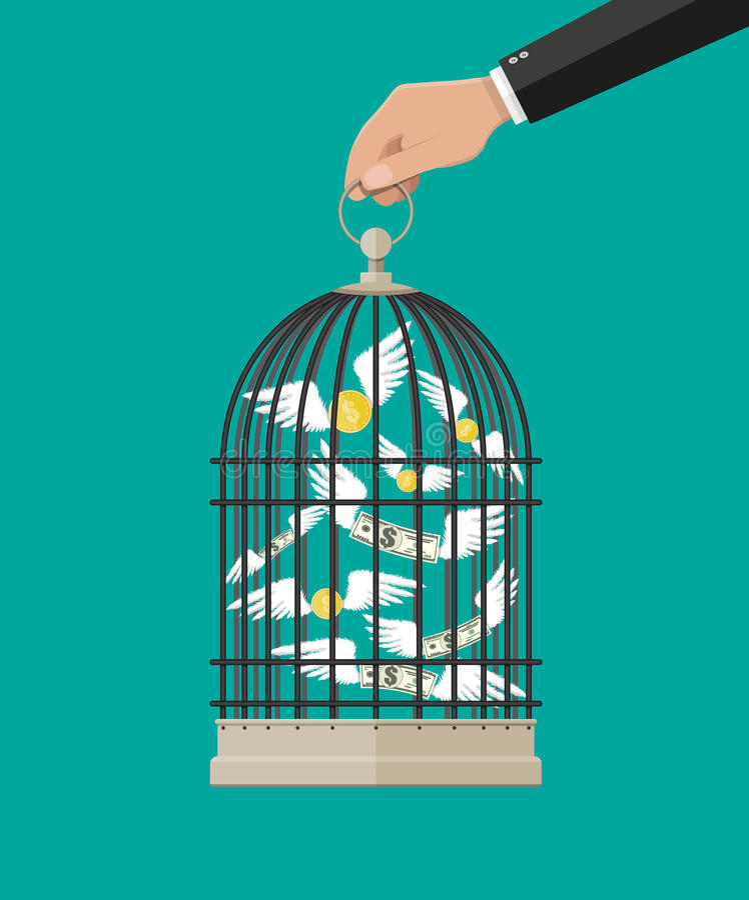 Рука держит клетку с деньгами летания иллюстрация штока