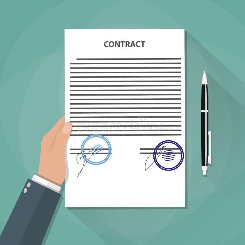 Рука держит документы контракта иллюстрация вектора