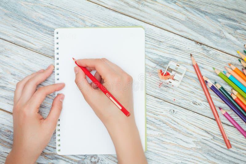 Рука держит покрашенный карандаш стоковые фотографии rf