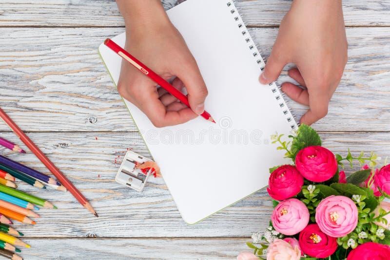 Рука держит покрашенный карандаш стоковая фотография