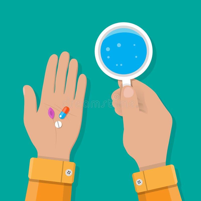 Рука держит стекло воды и пилюлек иллюстрация вектора