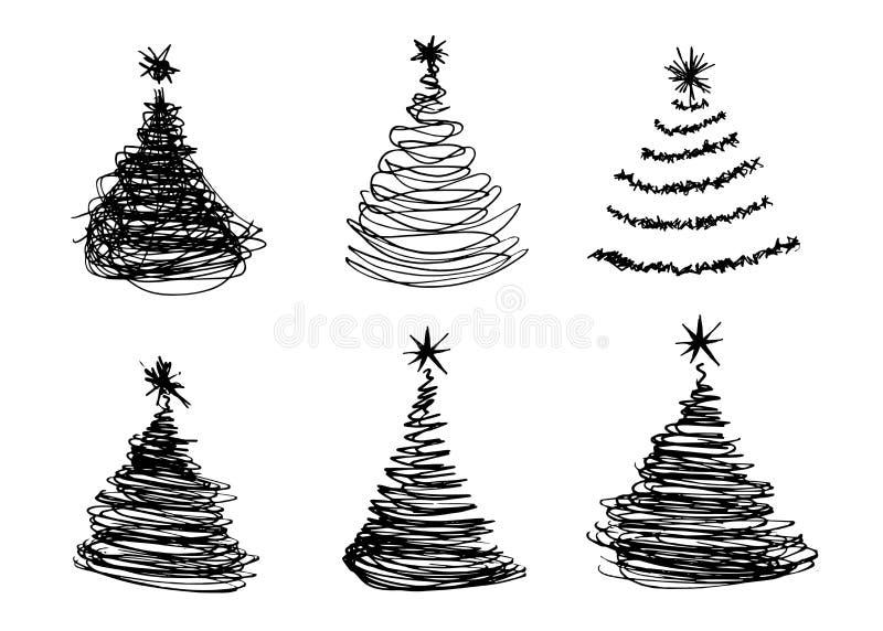 Рука делает эскиз к рождественским елкам бесплатная иллюстрация