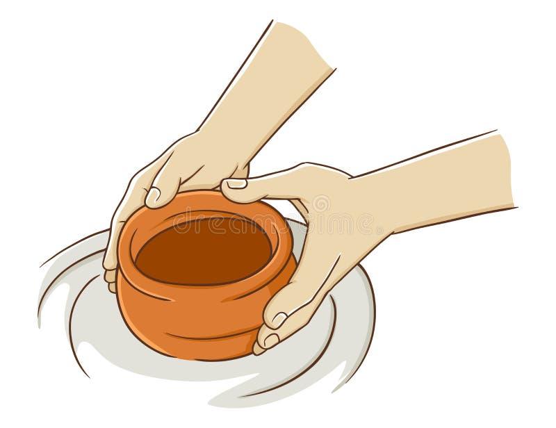 Рука делая гончарню от глины иллюстрация штока