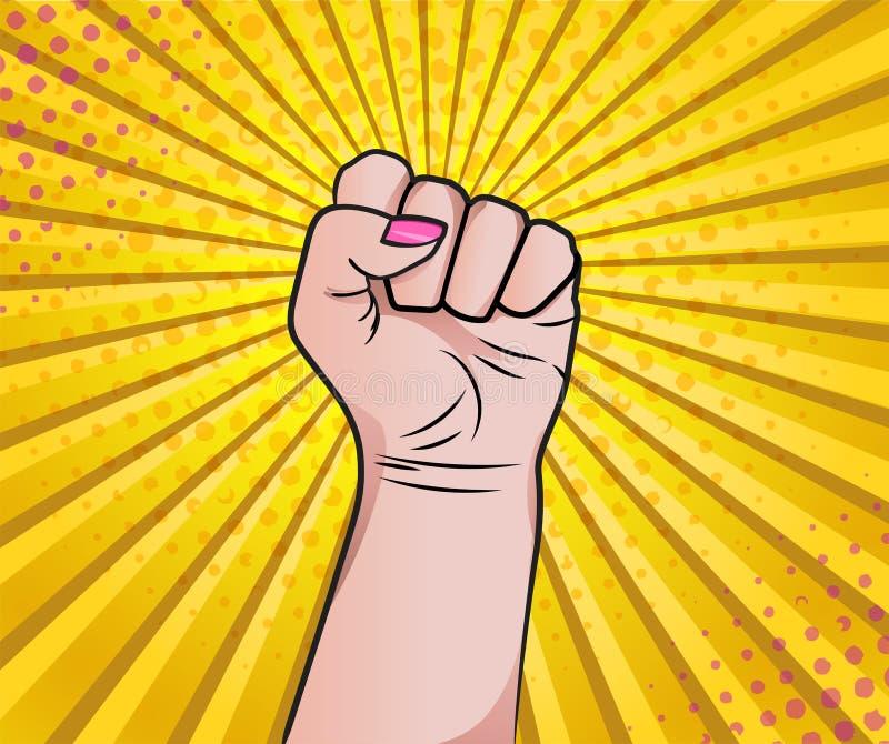 Рука женщины в кулаке как стиль искусства попа смогите сделать меня Сильный иллюстрация вектора