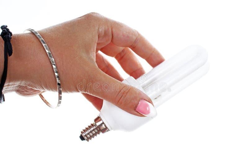 Рука женщины держа дневную, энергосберегающую электрическую лампочку на изолированной белой предпосылке выреза Фото студии с студ стоковое изображение