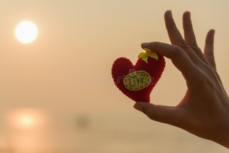 Рука женщины держа красную подушку в сердце сформировала на пляже стоковая фотография rf