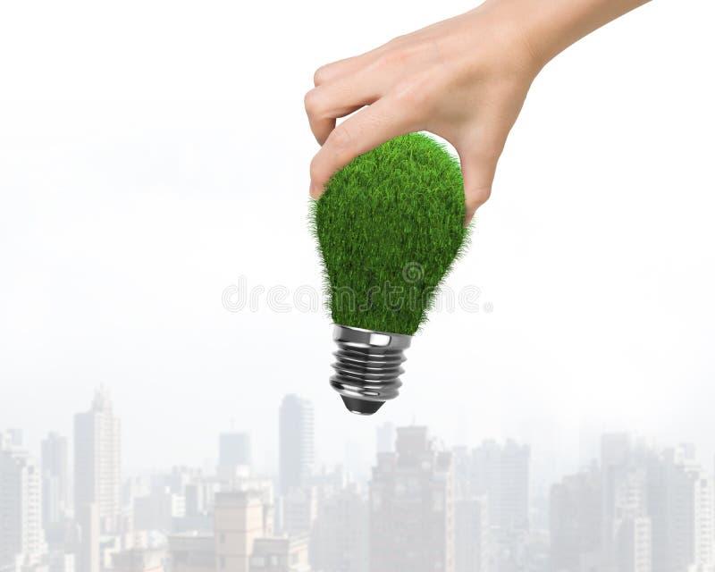 Рука женщины держа одну электрическую лампочку с зеленой травой, на небоскребах предпосылке, концепции ECO и зеленой энергии здан стоковые изображения rf
