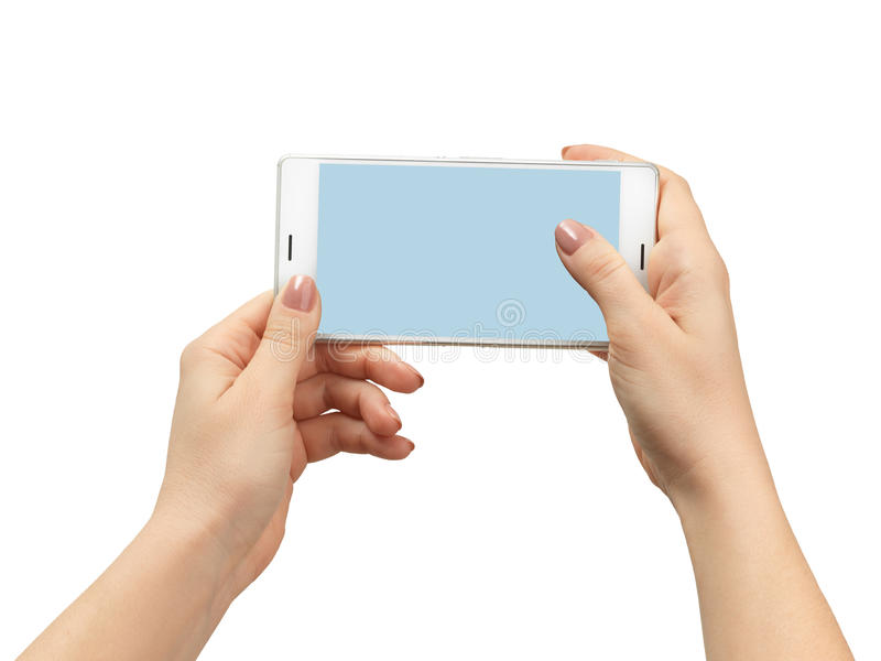 Рука женщины держа белый smartphone стоковые фотографии rf