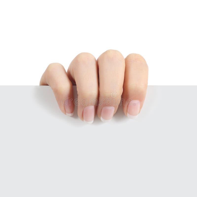 Рука женщины держа знак стоковое изображение