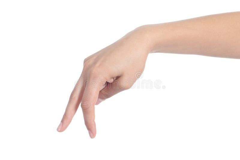 Рука женщины идя с перстами стоковое изображение