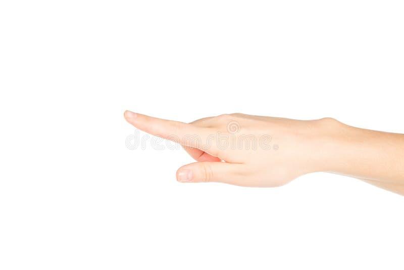 Рука женщины на белой предпосылке стоковая фотография