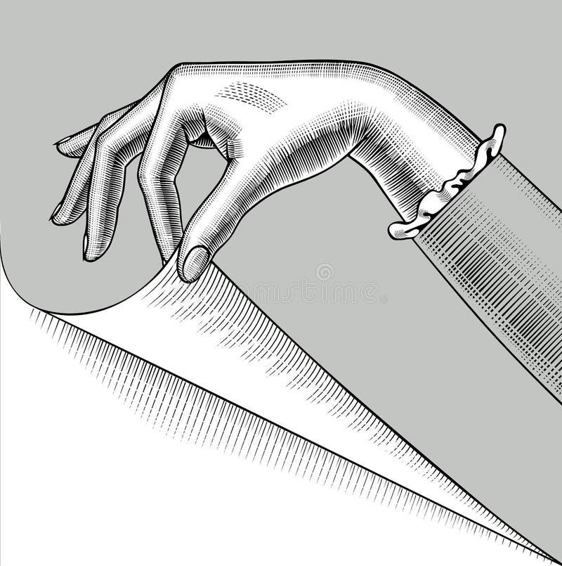 Рука женщины с завитым углом бумажной страницы иллюстрация вектора