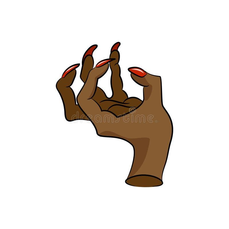 Рука женщины с маникюром иллюстрация вектора