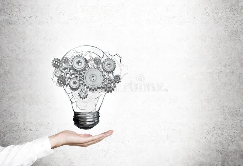 Рука женщины, электрическая лампочка, шестерни стоковое изображение rf