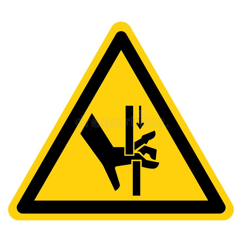 Рука задавливает изолят знака символа двигающих частей на белой предпосылке, иллюстрации вектора бесплатная иллюстрация