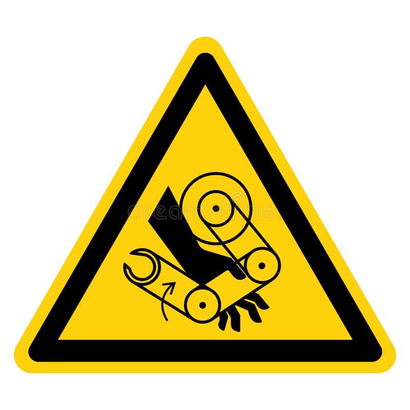 Рука задавливает изолят знака символа робота на белой предпосылке, иллюстрации вектора бесплатная иллюстрация