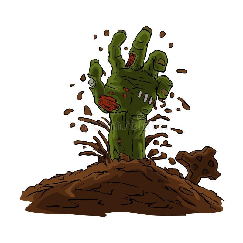 Рука зомби приходя из земли бесплатная иллюстрация