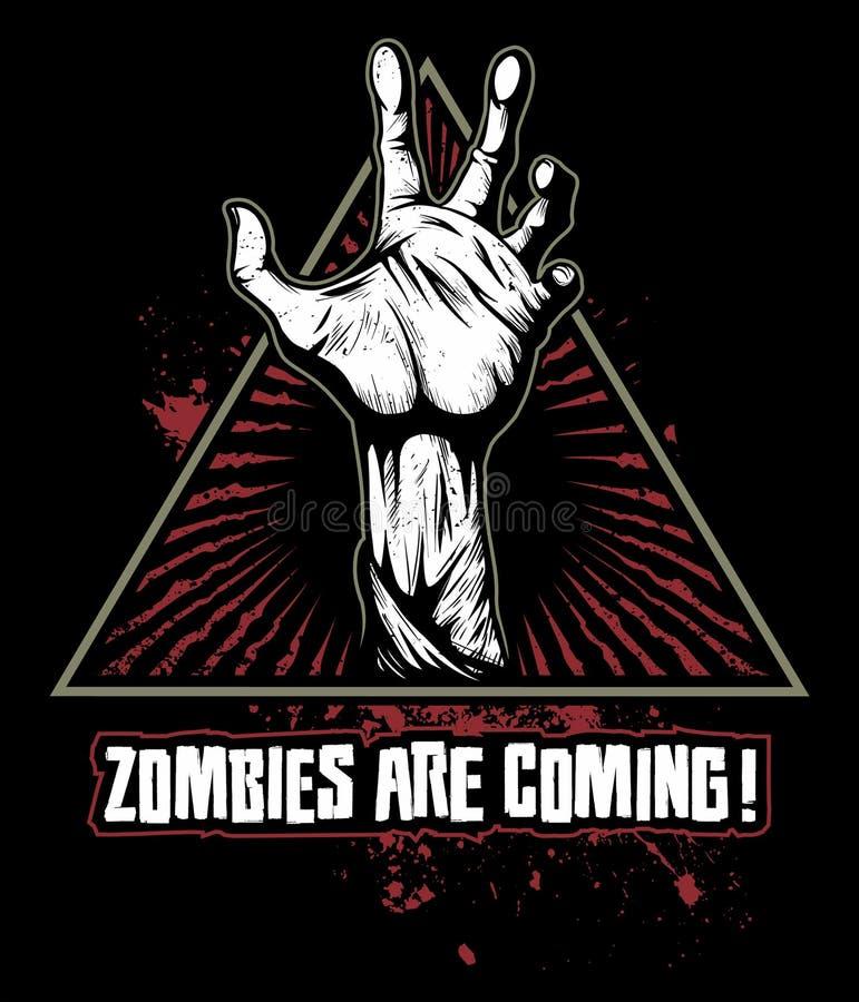 Рука зомби с кровопролитными пятнами на предпосылке, логотипе вектора иллюстрация штока