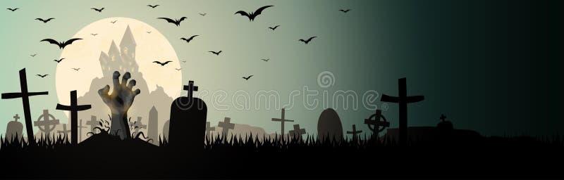 рука зомби хеллоуина перед полнолунием иллюстрация вектора