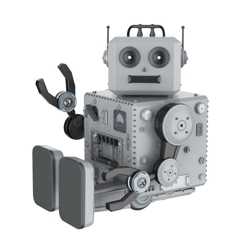 Рука игрушки олова робота вверх иллюстрация штока