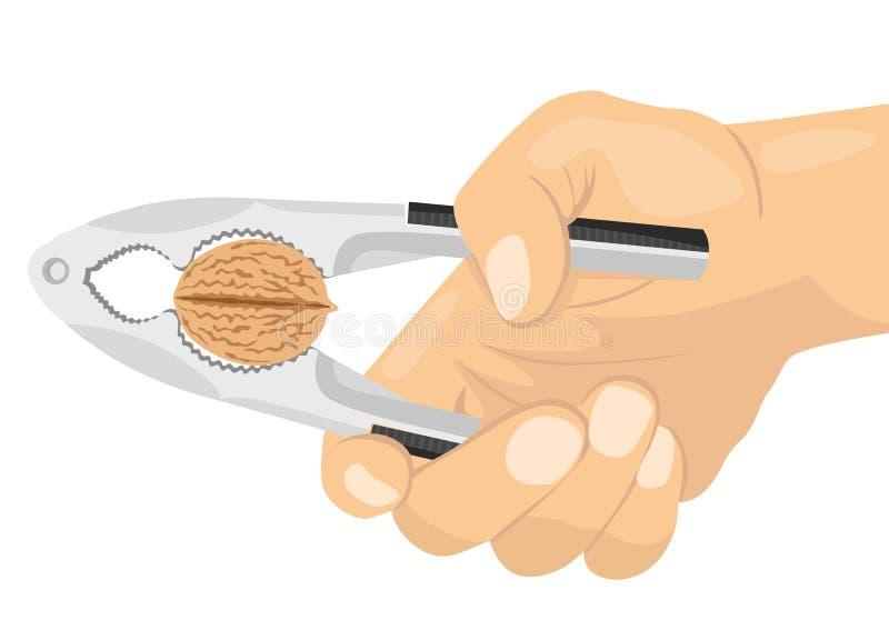 Рука используя Щелкунчика для того чтобы треснуть гайку бесплатная иллюстрация