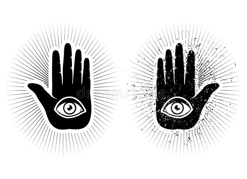 Рука и глаз иллюстрация вектора
