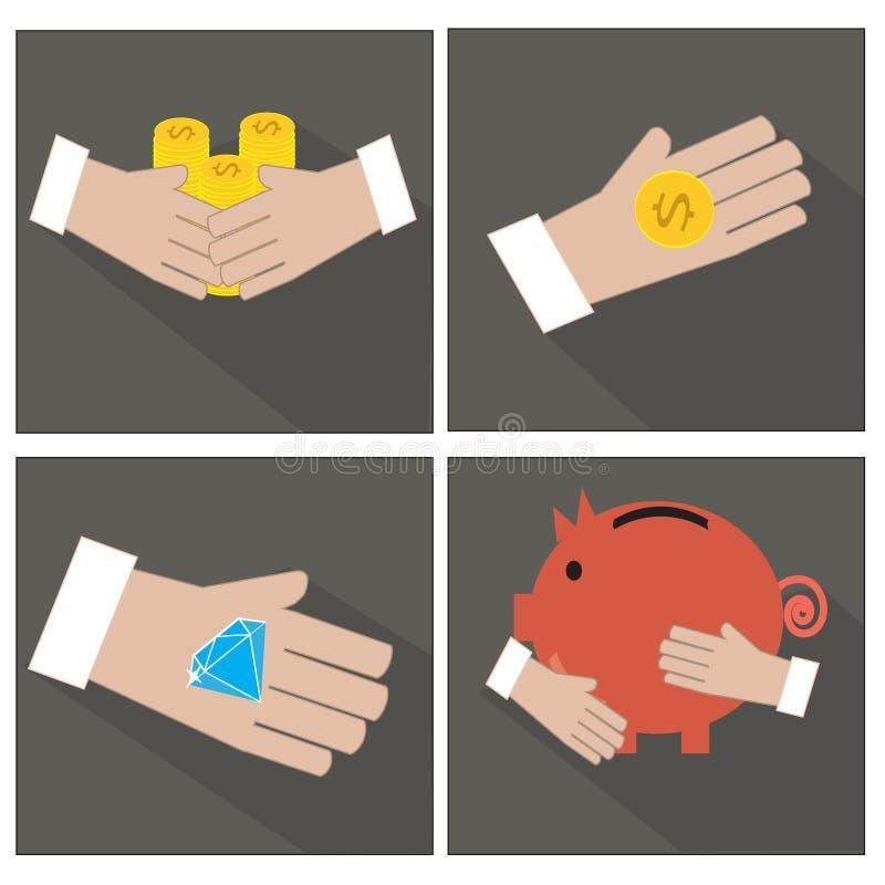 Рука и деньги иллюстрация вектора
