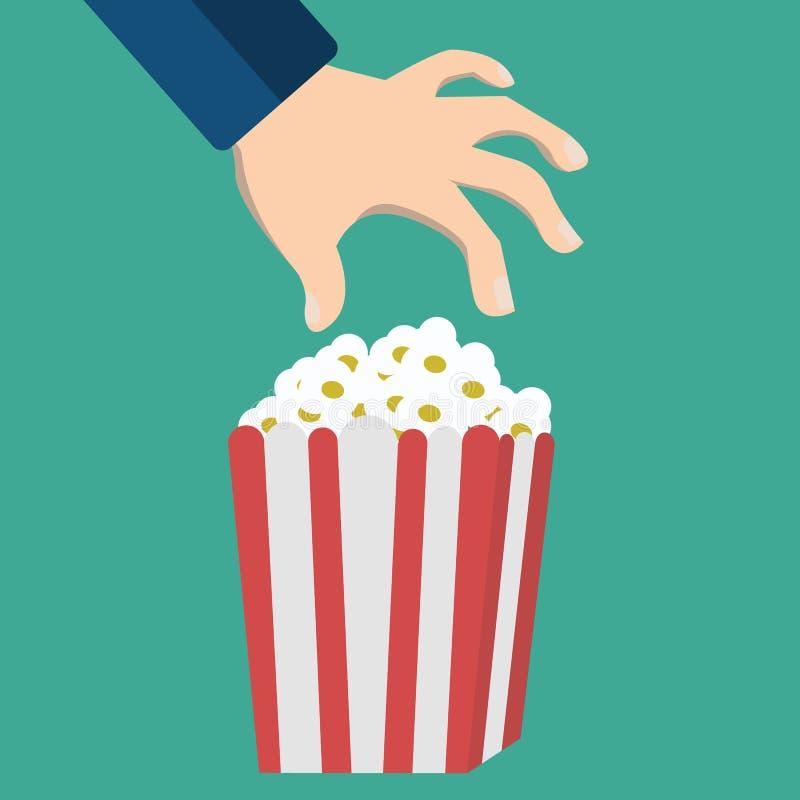 Рука и попкорн Плоский значок стиля дизайна также вектор иллюстрации притяжки corel иллюстрация штока
