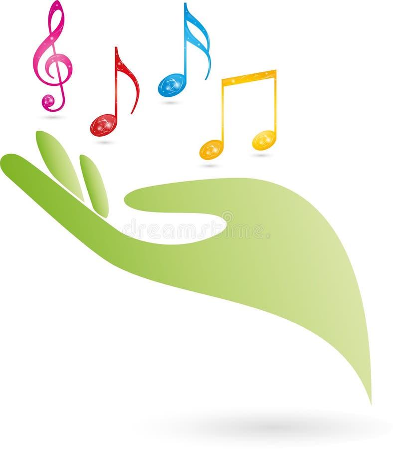 Рука и примечания, ключ, логотип музыки бесплатная иллюстрация