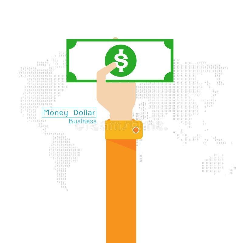 Рука и рука значка мира карты доллара денег вектора установленные иллюстрация штока