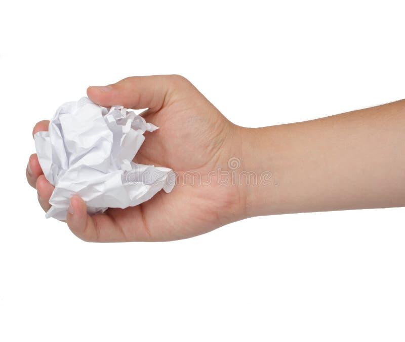 Рука и скомканная бумага изолированные на белизне стоковые изображения rf
