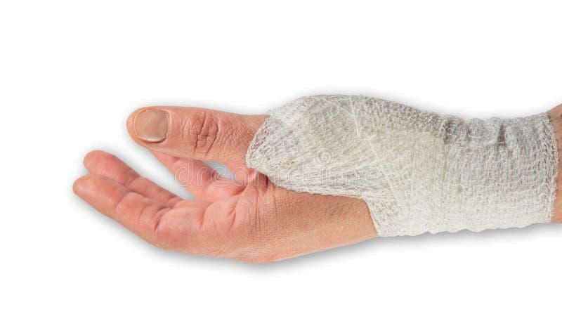 Рука кавказской женщины левая с хирургической шлихтой и тенью стоковые изображения rf