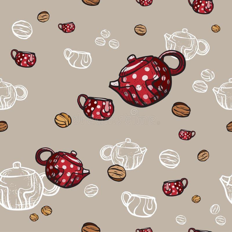 Рука картины чайников, чашек и печений безшовная нарисованная в старом стиле Иллюстрация вектора времени чая r иллюстрация вектора