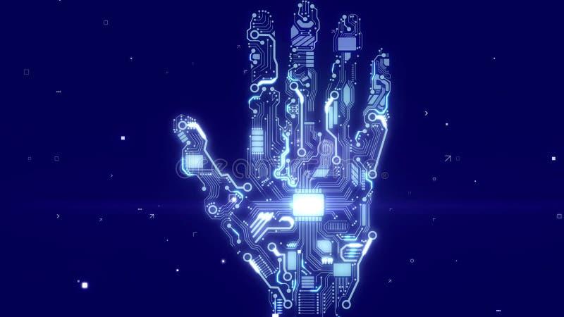 Рука киборга с микросхемами C.P.U. иллюстрация вектора