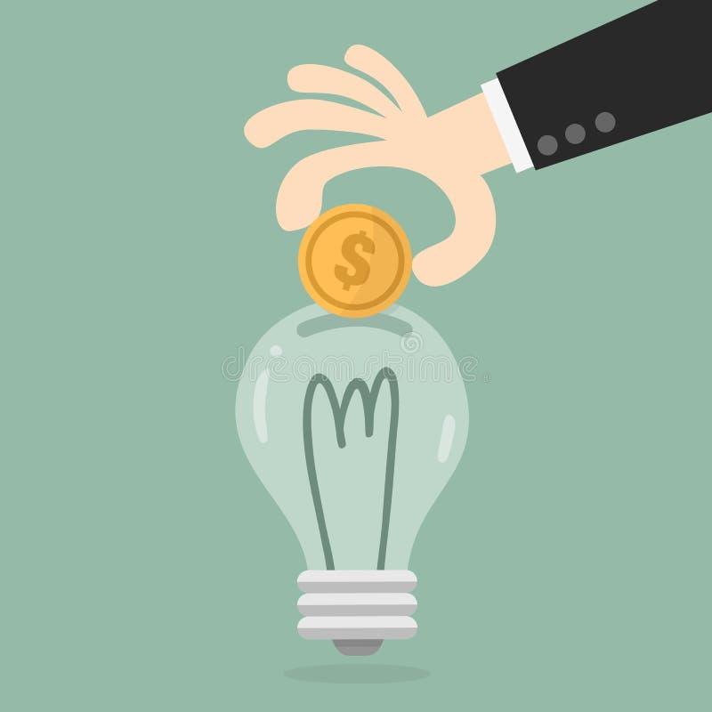 Рука кладя монетку в электрическую лампочку бесплатная иллюстрация