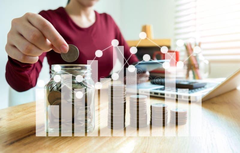 Рука коммерсантки кладя монетки в стекло для сохраняя денег стоковые изображения rf