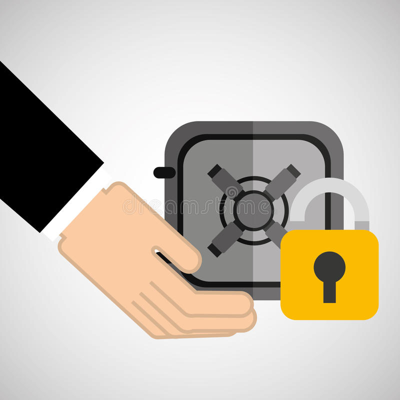 Рука концепции безопасностью с сейфом коробки иллюстрация штока