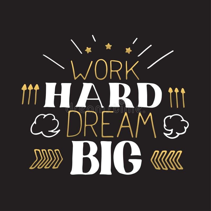 Рука концепции помечая буквами мотивационную цитату Работы большой крепко мечт Дизайн плаката мотивировки вектора стоковые изображения