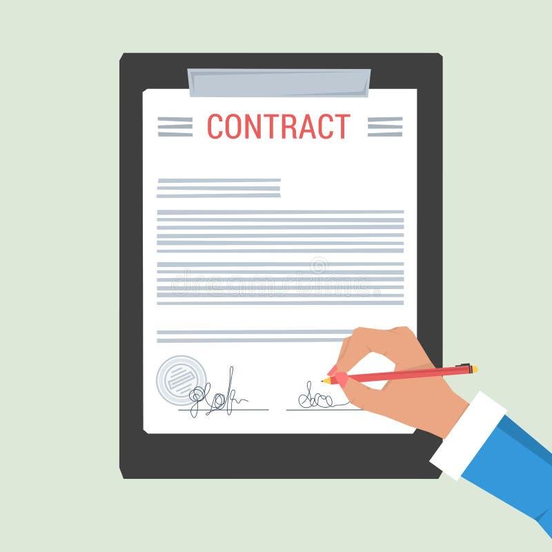 Рука концепции подписывает контракт бесплатная иллюстрация