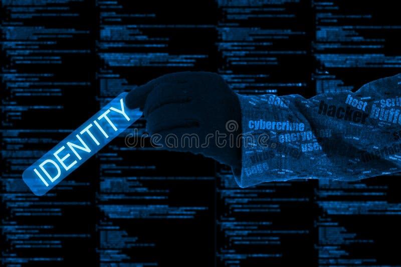 Рука крадя концепцию cybersecurity computercode идентичности иллюстрация штока