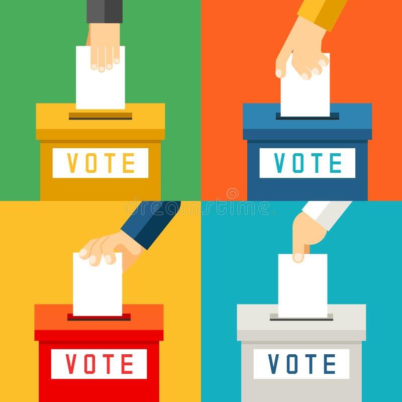 Рука кладя бумагу голосования в урну для избирательных бюллетеней иллюстрация штока