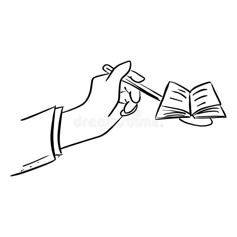 Рука ложки удерживания бизнесмена с открытым illustra вектора книги иллюстрация вектора