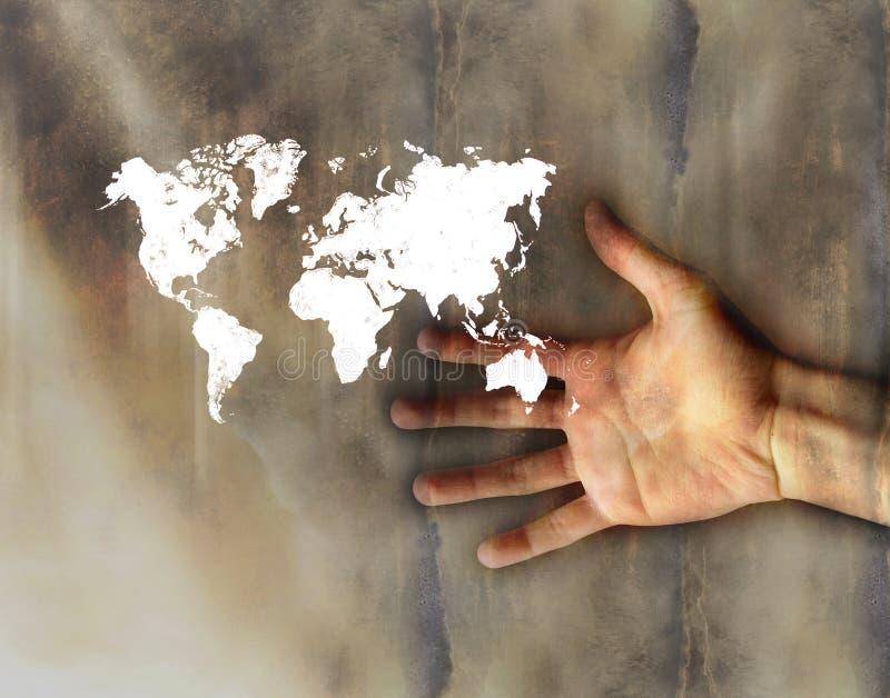 рука меньшее worldmap стоковые фотографии rf