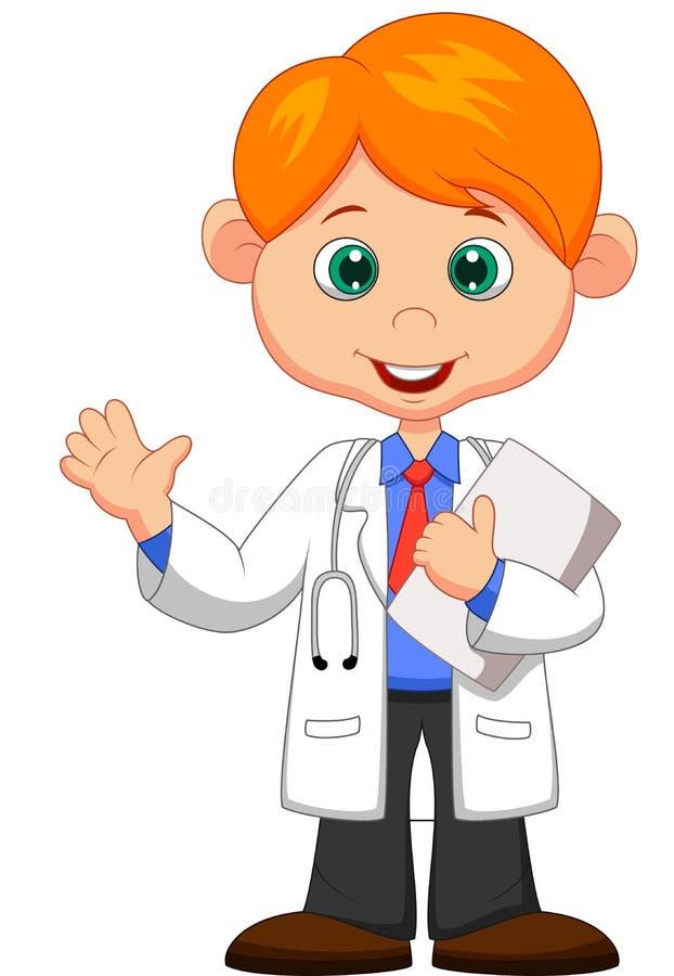 Рука милого маленького мужского шаржа доктора развевая иллюстрация вектора