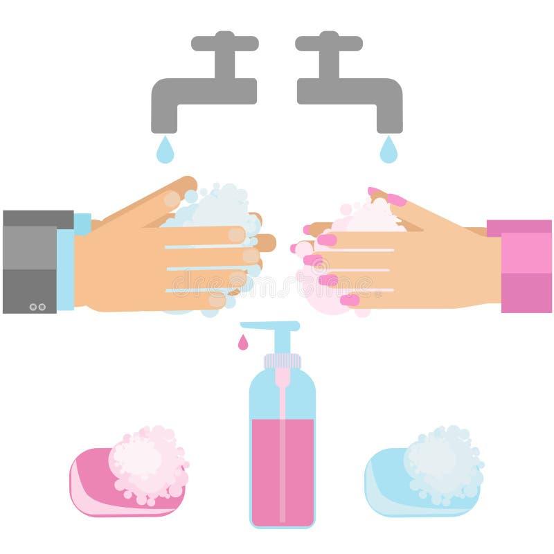Рука моя с мылом иллюстрация вектора