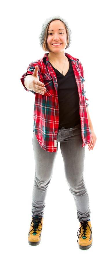 Download Рука молодой женщины предлагая для рукопожатия Стоковое Фото - изображение насчитывающей съемка, приветствие: 41650850
