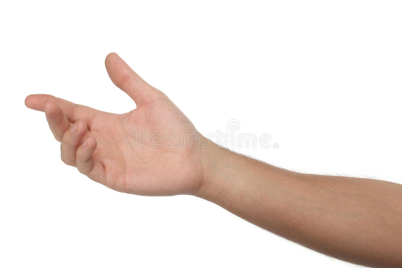 Рука мужчины открытая изолированная на белизне стоковая фотография