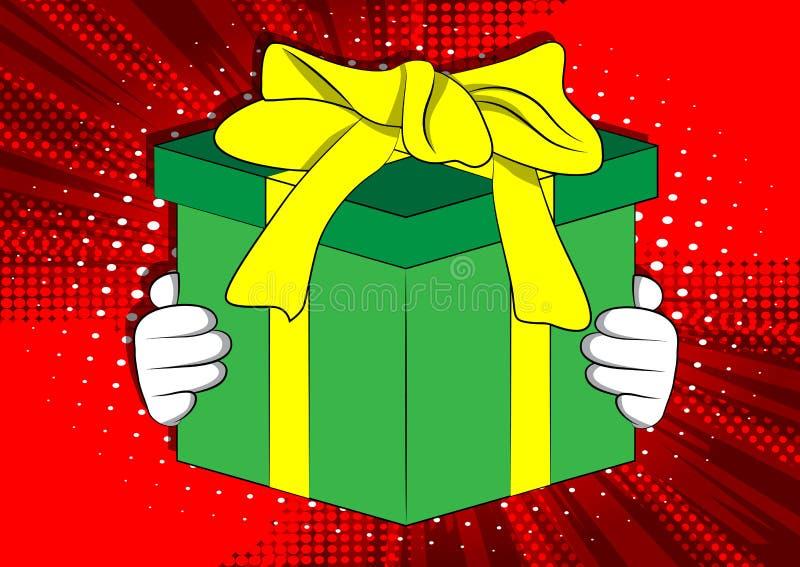 Рука мультфильма держа большую подарочную коробку бесплатная иллюстрация