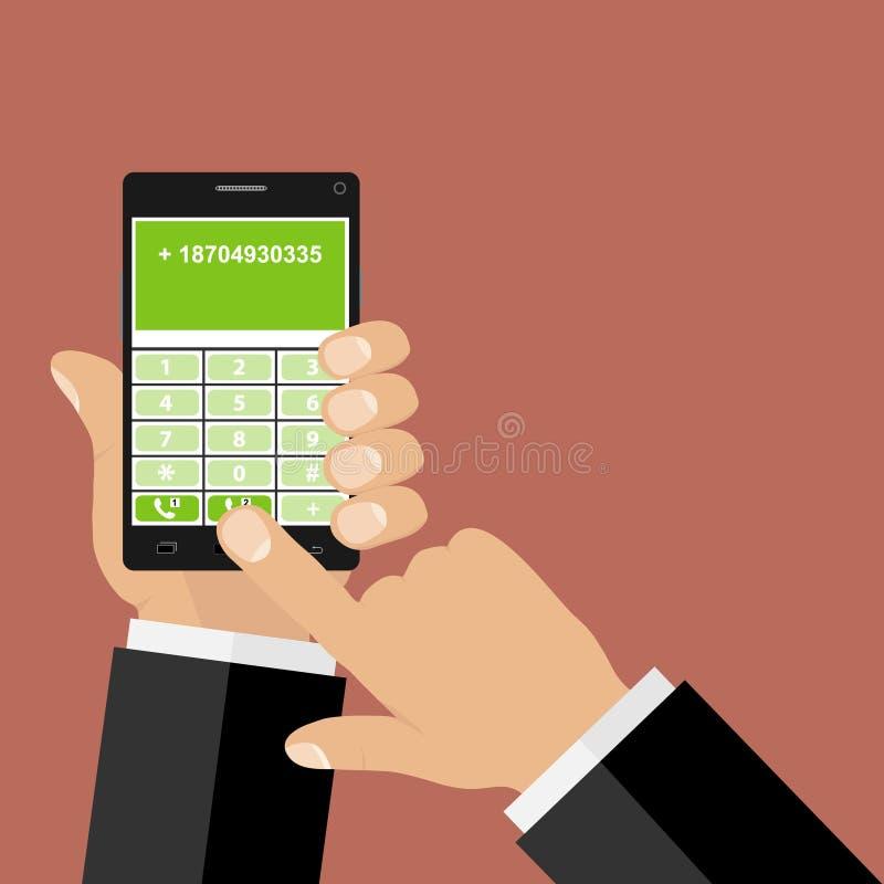 Рука набирает телефонный номер, владение рук телефон иллюстрация штока