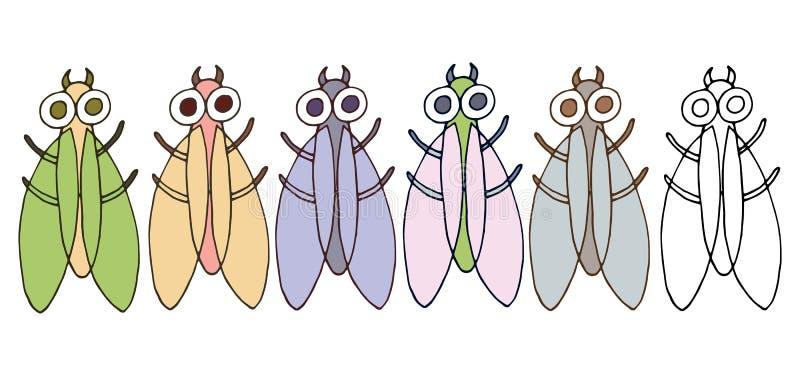 Рука набора цвета мухы ошибки чудовища doodle мультфильма печати рисует смешное иллюстрация штока